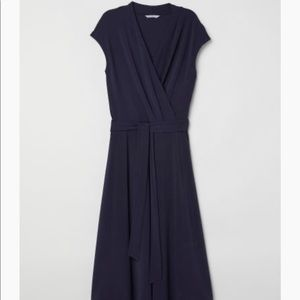 H&M midi dark blue/Navy v-neck wrap dress size XL